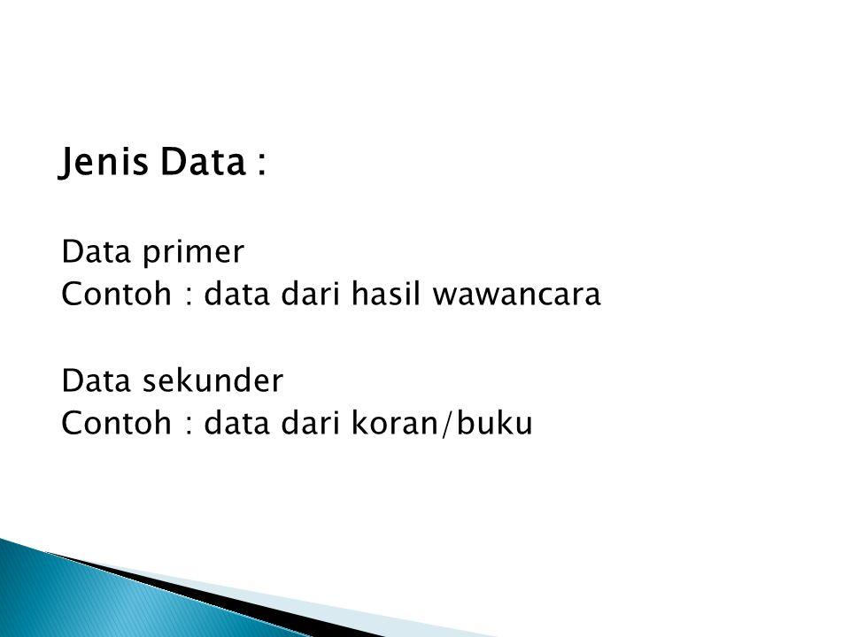 Jenis Data : Data primer Contoh : data dari hasil wawancara Data sekunder Contoh : data dari koran/buku