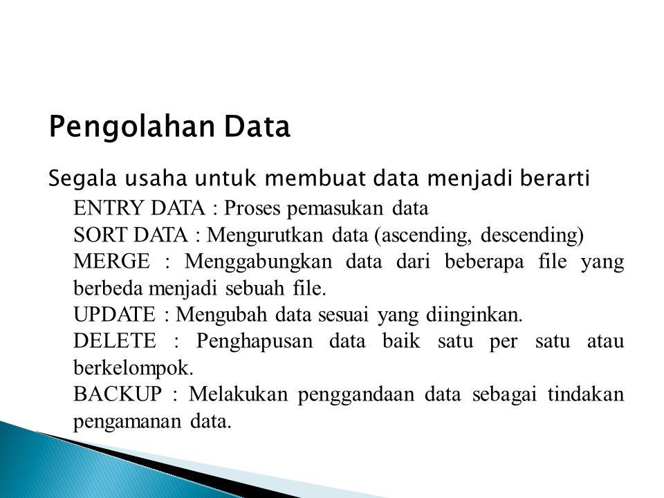 Pengolahan Data Segala usaha untuk membuat data menjadi berarti ENTRY DATA : Proses pemasukan data SORT DATA : Mengurutkan data (ascending, descending