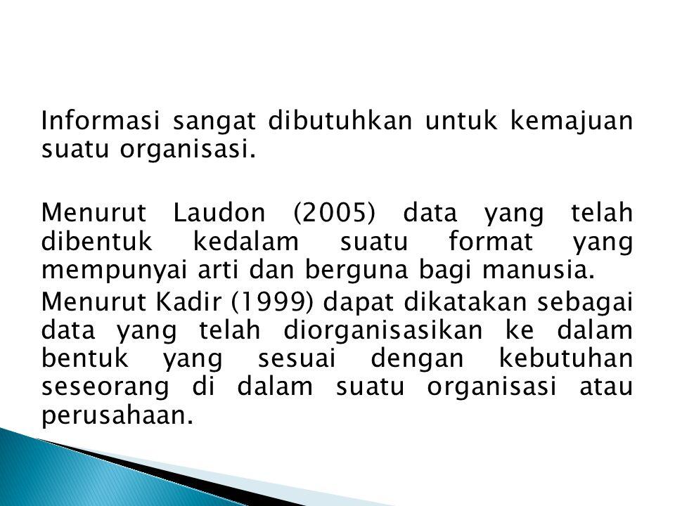 Informasi sangat dibutuhkan untuk kemajuan suatu organisasi. Menurut Laudon (2005) data yang telah dibentuk kedalam suatu format yang mempunyai arti d