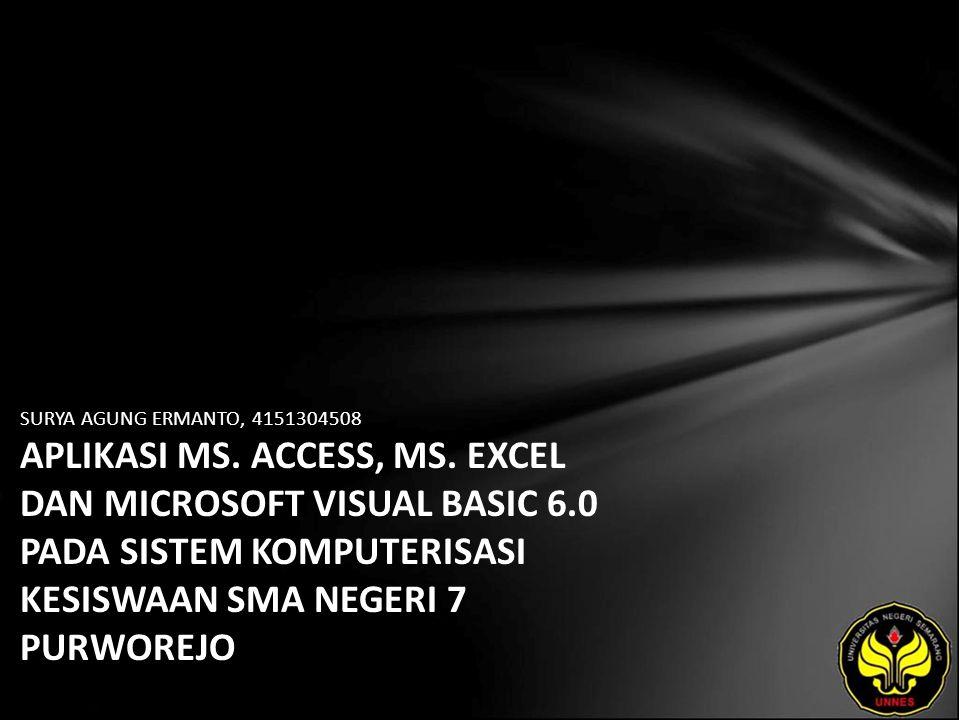 SURYA AGUNG ERMANTO, 4151304508 APLIKASI MS.ACCESS, MS.