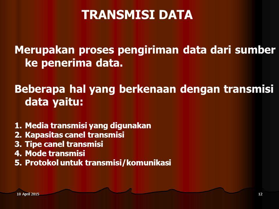 10 April 201510 April 201510 April 201512 TRANSMISI DATA Merupakan proses pengiriman data dari sumber ke penerima data. Beberapa hal yang berkenaan de