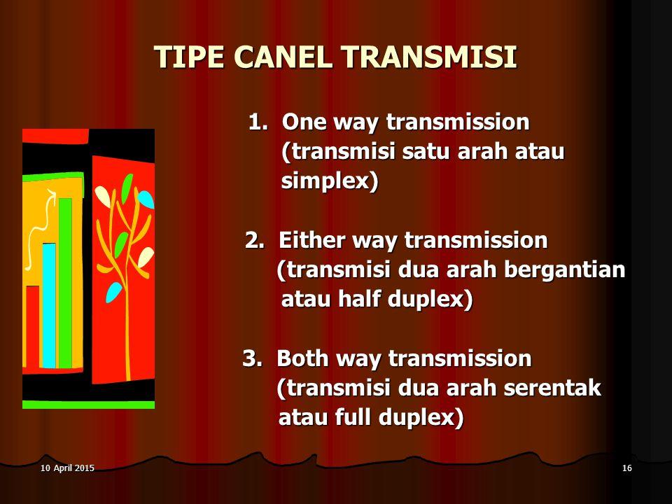 10 April 201510 April 201510 April 201516 TIPE CANEL TRANSMISI 1. One way transmission 1. One way transmission (transmisi satu arah atau (transmisi sa