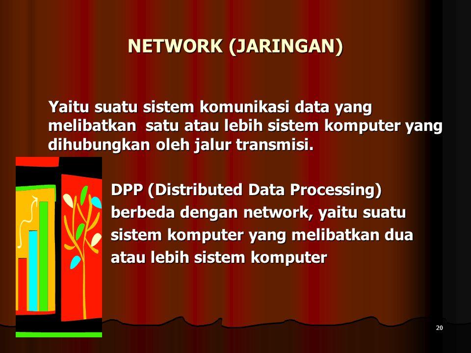 10 April 201510 April 201510 April 201520 NETWORK (JARINGAN) Yaitu suatu sistem komunikasi data yang melibatkan satu atau lebih sistem komputer yang d