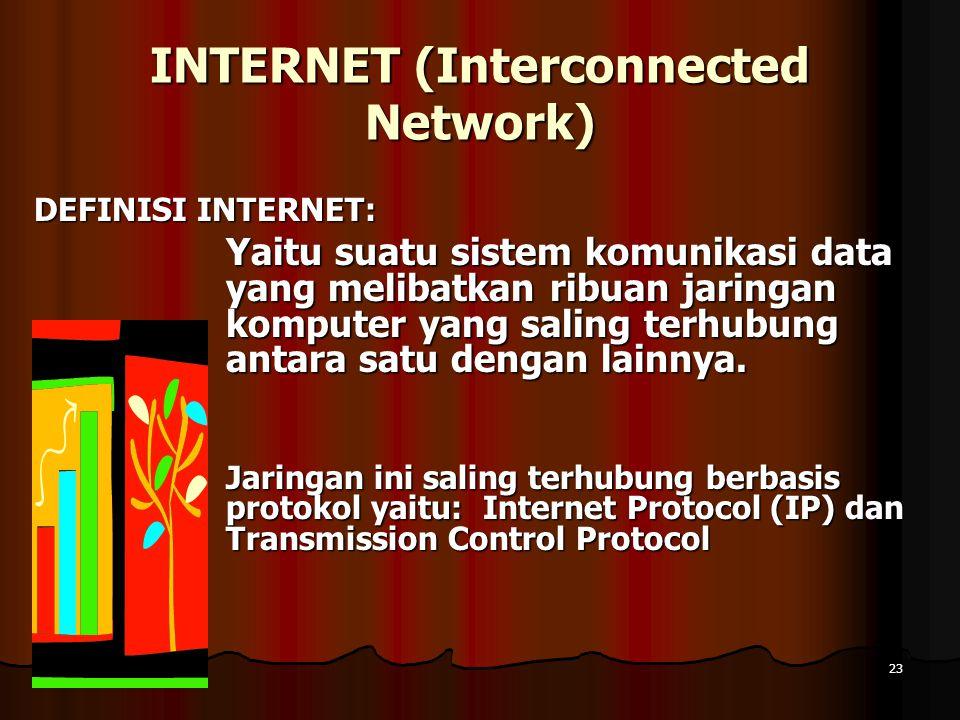 10 April 201510 April 201510 April 201523 INTERNET (Interconnected Network) DEFINISI INTERNET: Yaitu suatu sistem komunikasi data yang melibatkan ribu