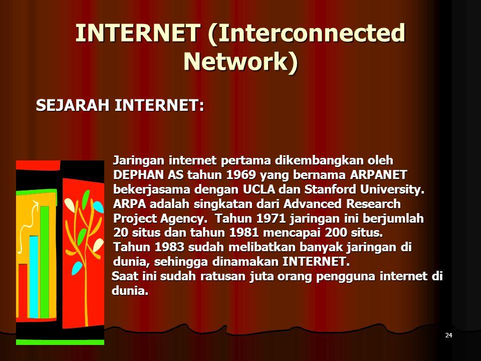 10 April 201510 April 201510 April 201524 INTERNET (Interconnected Network) SEJARAH INTERNET: SEJARAH INTERNET: Jaringan internet pertama dikembangkan