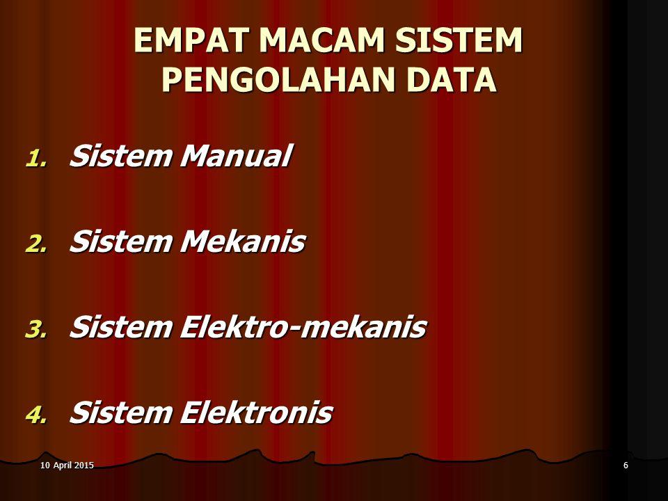 10 April 201510 April 201510 April 20156 EMPAT MACAM SISTEM PENGOLAHAN DATA 1. S istem Manual 2. S istem Mekanis 3. S istem Elektro-mekanis 4. S istem