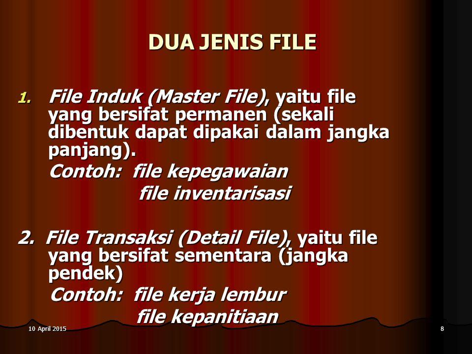 8 DUA JENIS FILE 1. F ile Induk (Master File), yaitu file yang bersifat permanen (sekali dibentuk dapat dipakai dalam jangka panjang). Contoh: file ke