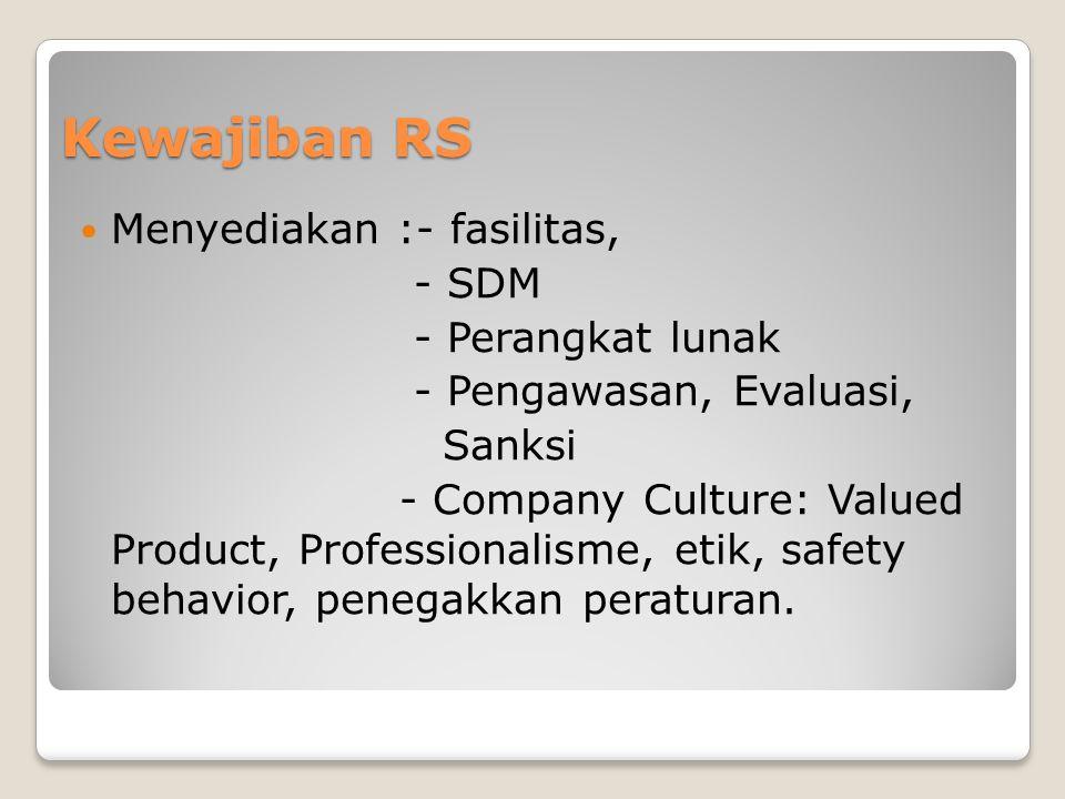 Kewajiban RS Menyediakan :- fasilitas, - SDM - Perangkat lunak - Pengawasan, Evaluasi, Sanksi - Company Culture: Valued Product, Professionalisme, eti