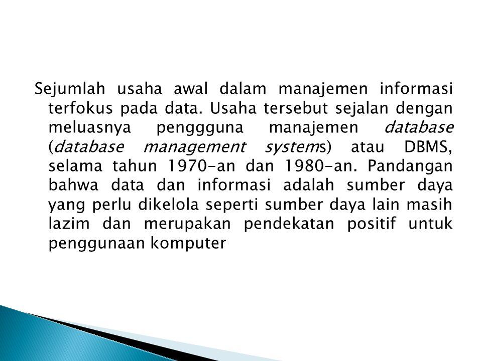 Sejumlah usaha awal dalam manajemen informasi terfokus pada data. Usaha tersebut sejalan dengan meluasnya penggguna manajemen database (database manag