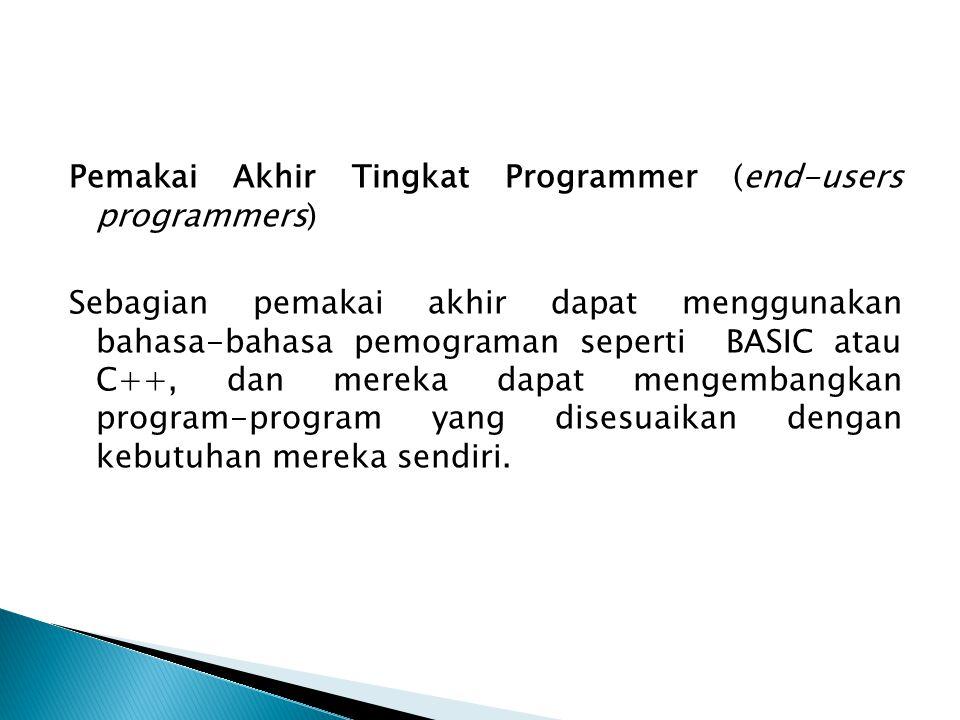 Pemakai Akhir Tingkat Programmer (end-users programmers) Sebagian pemakai akhir dapat menggunakan bahasa-bahasa pemograman seperti BASIC atau C++, dan