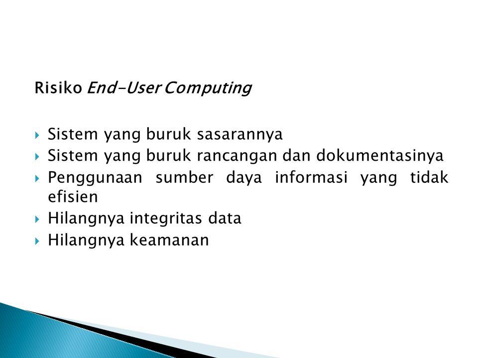 Risiko End-User Computing  Sistem yang buruk sasarannya  Sistem yang buruk rancangan dan dokumentasinya  Penggunaan sumber daya informasi yang tida