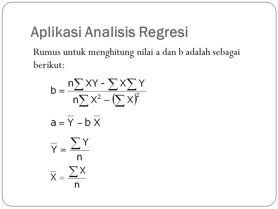 Aplikasi Analisis Regresi Rumus untuk menghitung nilai a dan b adalah sebagai berikut: