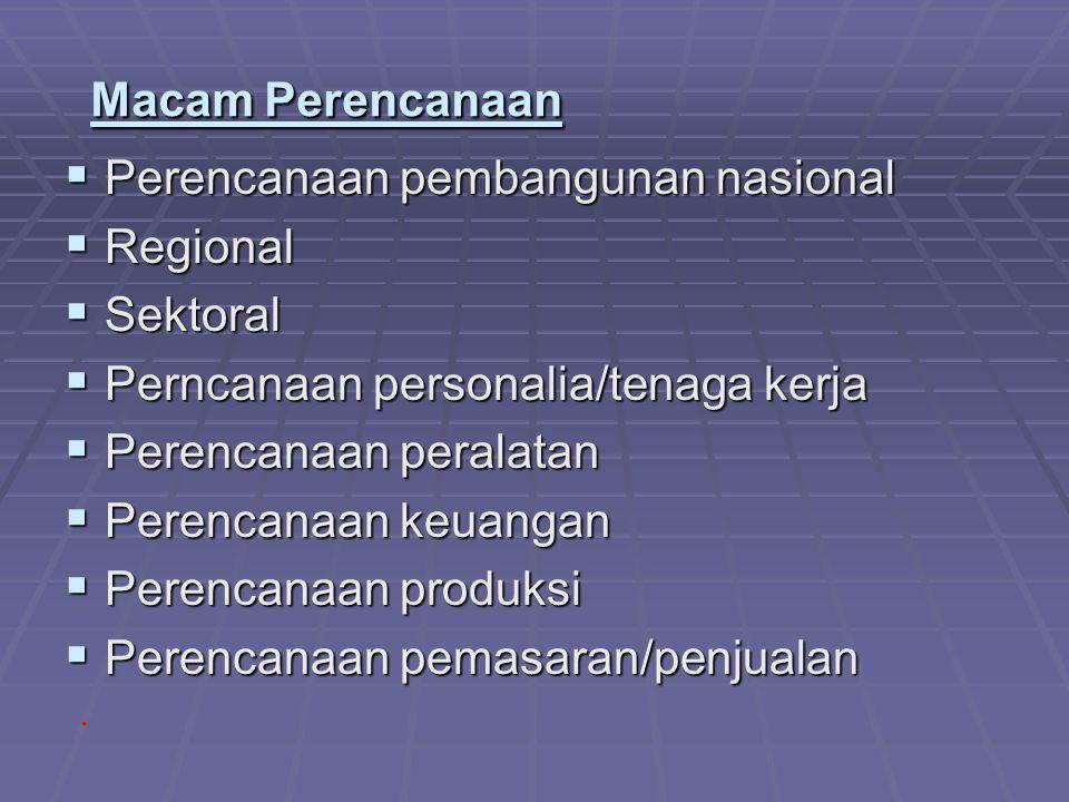 Macam Perencanaan  Perencanaan pembangunan nasional  Regional  Sektoral  Perncanaan personalia/tenaga kerja  Perencanaan peralatan  Perencanaan