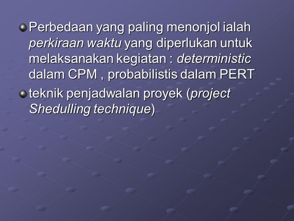 Perbedaan yang paling menonjol ialah perkiraan waktu yang diperlukan untuk melaksanakan kegiatan : deterministic dalam CPM, probabilistis dalam PERT t