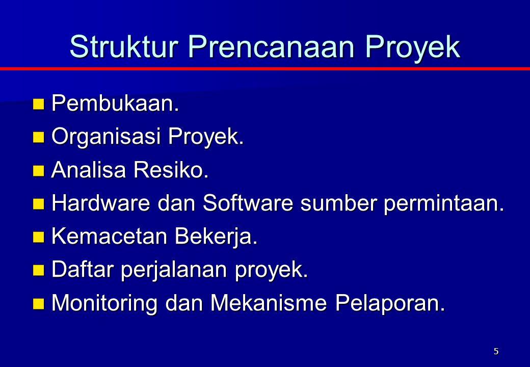 5 Pembukaan. Pembukaan. Organisasi Proyek. Organisasi Proyek. Analisa Resiko. Analisa Resiko. Hardware dan Software sumber permintaan. Hardware dan So