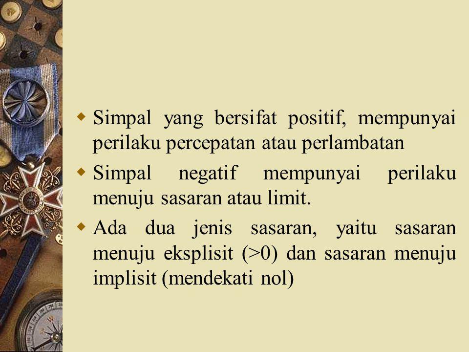  Simpal yang bersifat positif, mempunyai perilaku percepatan atau perlambatan  Simpal negatif mempunyai perilaku menuju sasaran atau limit.  Ada du