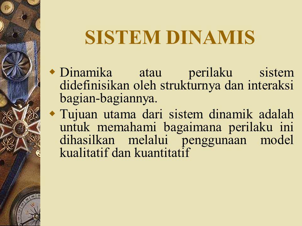 SISTEM DINAMIS  Dinamika atau perilaku sistem didefinisikan oleh strukturnya dan interaksi bagian-bagiannya.  Tujuan utama dari sistem dinamik adala