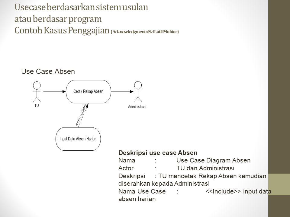 Usecase berdasarkan sistem usulan atau berdasar program Contoh Kasus Penggajian (Acknowledgments Evi Lutfi Muktar) Use Case Absen Deskripsi use case A