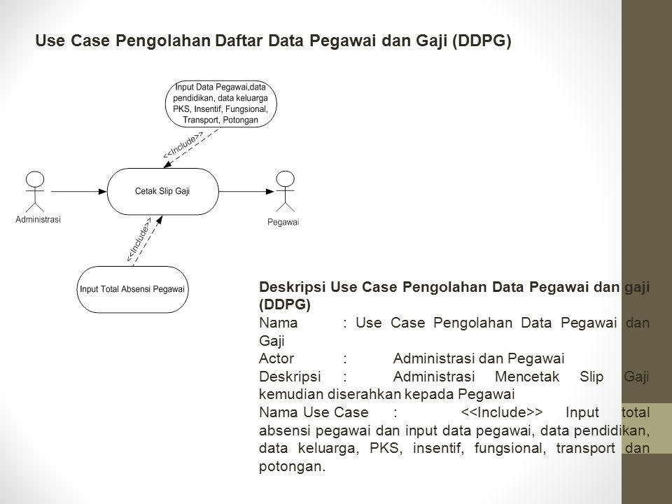 Use Case Pengolahan Daftar Data Pegawai dan Gaji (DDPG) Deskripsi Use Case Pengolahan Data Pegawai dan gaji (DDPG) Nama: Use Case Pengolahan Data Pega