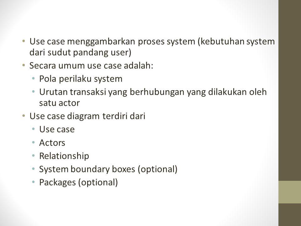 Use case menggambarkan proses system (kebutuhan system dari sudut pandang user) Secara umum use case adalah: Pola perilaku system Urutan transaksi yan