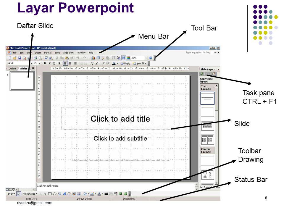 [PPA] 7th Edri Yunizal riyuniza@gmail.com Manajemen Informatika STAIN BSK8 Layar Powerpoint Task pane CTRL + F1 Menu Bar Tool Bar Slide Daftar Slide Toolbar Drawing Status Bar