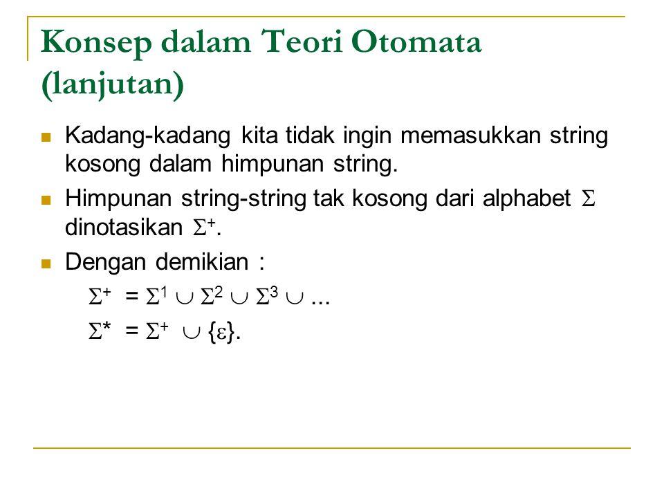 Konsep dalam Teori Otomata (lanjutan) Kadang-kadang kita tidak ingin memasukkan string kosong dalam himpunan string.