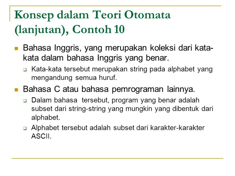 Konsep dalam Teori Otomata (lanjutan), Contoh 10 Bahasa Inggris, yang merupakan koleksi dari kata- kata dalam bahasa Inggris yang benar.