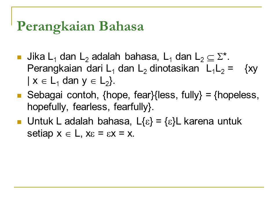 Perangkaian Bahasa Jika L 1 dan L 2 adalah bahasa, L 1 dan L 2   *.