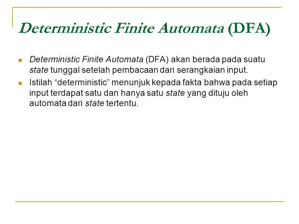 Deterministic Finite Automata (DFA) Deterministic Finite Automata (DFA) akan berada pada suatu state tunggal setelah pembacaan dari serangkaian input.