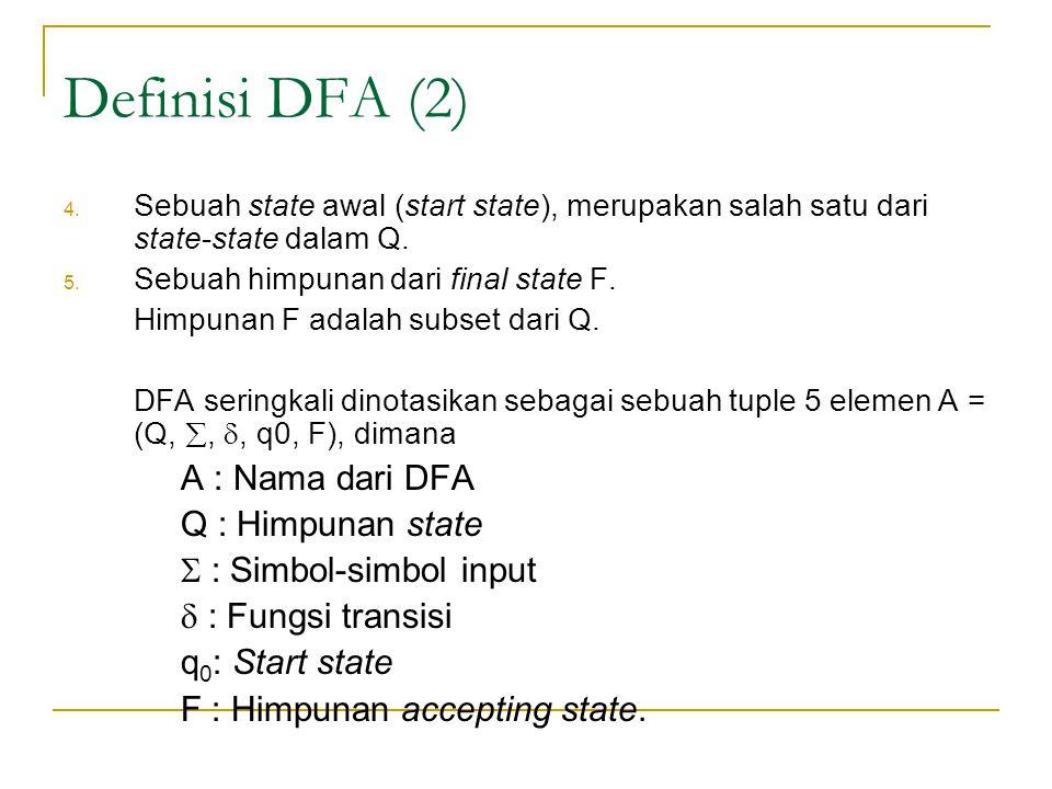 Definisi DFA (2) 4.Sebuah state awal (start state), merupakan salah satu dari state-state dalam Q.