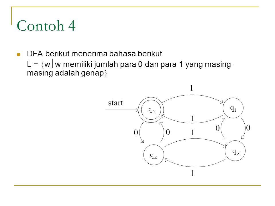 Contoh 4 DFA berikut menerima bahasa berikut L =  w  w memiliki jumlah para 0 dan para 1 yang masing- masing adalah genap 