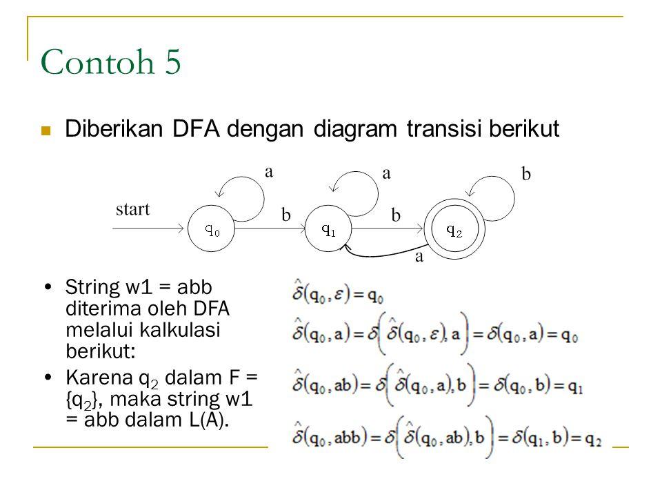 Contoh 5 Diberikan DFA dengan diagram transisi berikut String w1 = abb diterima oleh DFA melalui kalkulasi berikut: Karena q 2 dalam F = {q 2 }, maka string w1 = abb dalam L(A).
