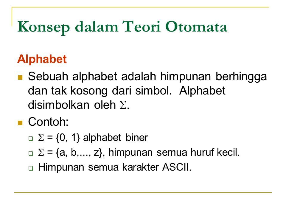 Contoh 1 DFA berikut menerima semua string dari para 0 dan para 1 yang memiliki urutan 01 pada suatu tempat dalam string: A = ({q 0, q 1, q 2 }, {0, 1}, , q 0, {q 1 }) dimana   (q 0, 0) = q 2  (q 0, 1) = q 0  (q 2, 0) = q 2  (q 2, 1) = q 1  (q 1, 0) =  (q 1, 1) = q 1