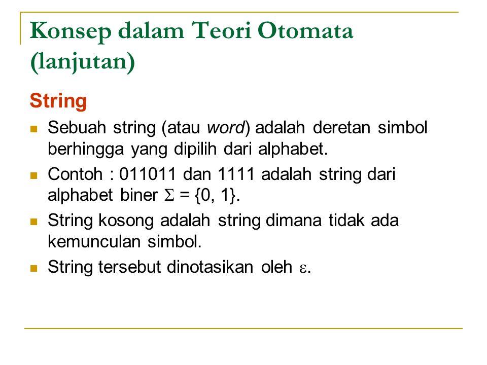 Konsep dalam Teori Otomata (lanjutan) String Sebuah string (atau word) adalah deretan simbol berhingga yang dipilih dari alphabet.