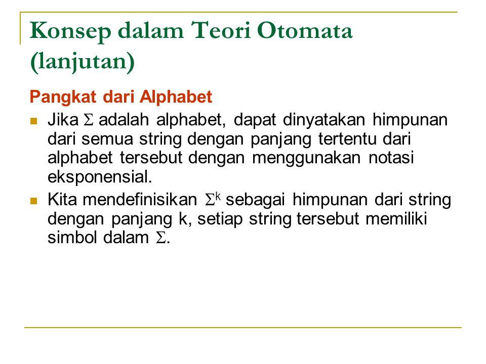 Konsep dalam Teori Otomata (lanjutan) Pangkat dari Alphabet Jika  adalah alphabet, dapat dinyatakan himpunan dari semua string dengan panjang tertentu dari alphabet tersebut dengan menggunakan notasi eksponensial.