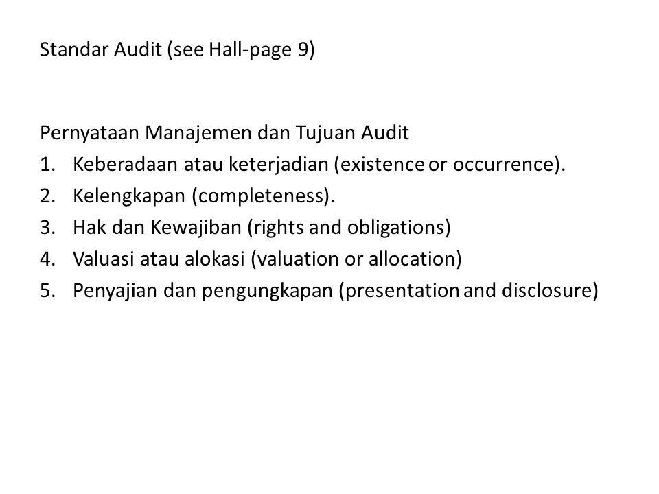 Standar Audit (see Hall-page 9) Pernyataan Manajemen dan Tujuan Audit 1.Keberadaan atau keterjadian (existence or occurrence). 2.Kelengkapan (complete