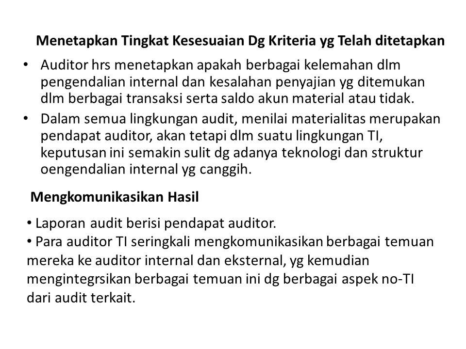 Mengkomunikasikan Hasil Auditor hrs menetapkan apakah berbagai kelemahan dlm pengendalian internal dan kesalahan penyajian yg ditemukan dlm berbagai t