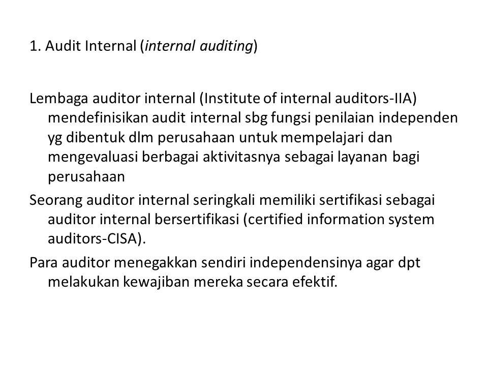 1. Audit Internal (internal auditing) Lembaga auditor internal (Institute of internal auditors-IIA) mendefinisikan audit internal sbg fungsi penilaian
