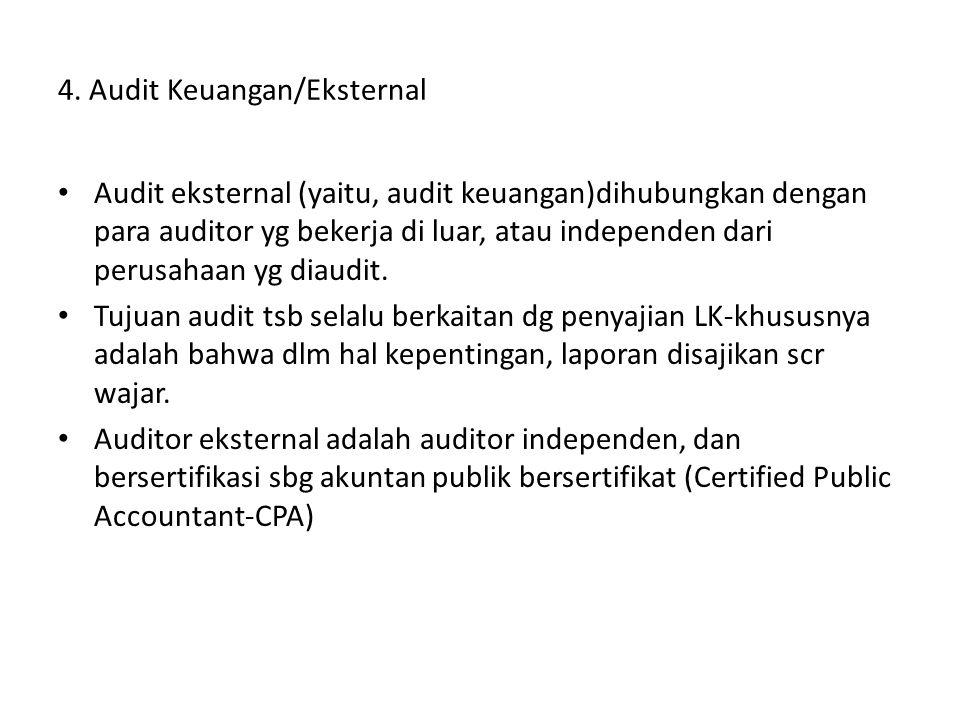 4. Audit Keuangan/Eksternal Audit eksternal (yaitu, audit keuangan)dihubungkan dengan para auditor yg bekerja di luar, atau independen dari perusahaan