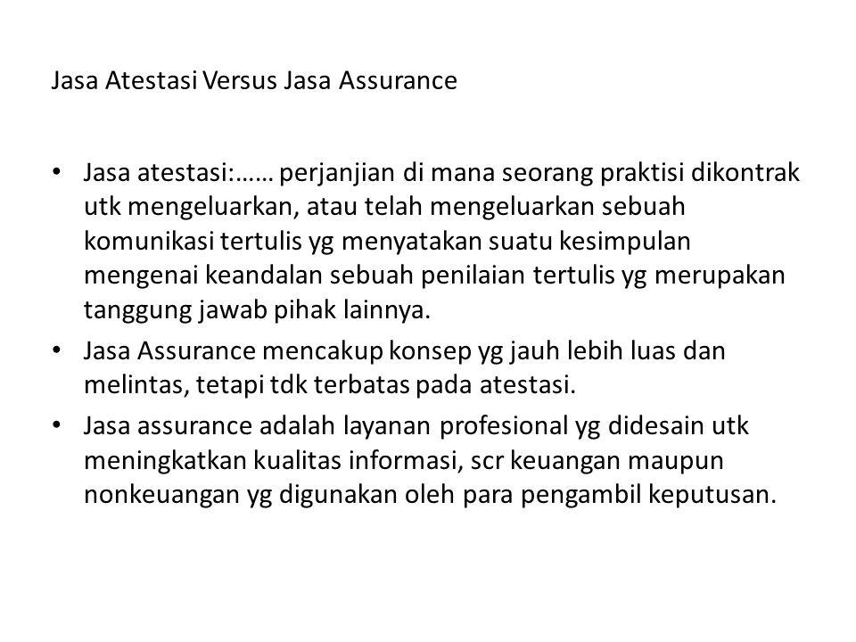 Jasa Atestasi Versus Jasa Assurance Jasa atestasi:…… perjanjian di mana seorang praktisi dikontrak utk mengeluarkan, atau telah mengeluarkan sebuah ko