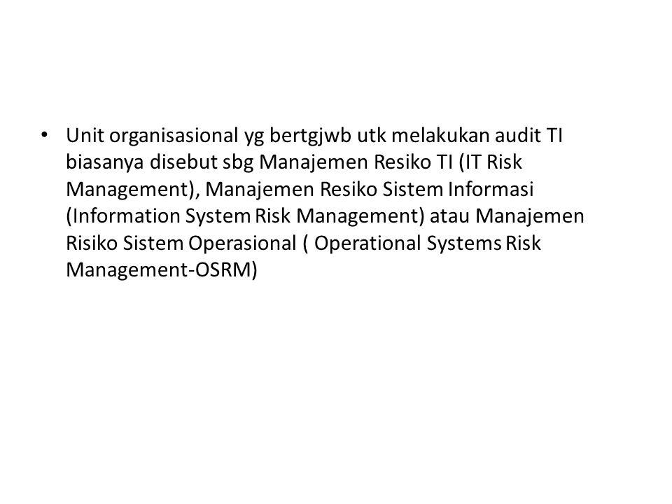 Unit organisasional yg bertgjwb utk melakukan audit TI biasanya disebut sbg Manajemen Resiko TI (IT Risk Management), Manajemen Resiko Sistem Informas