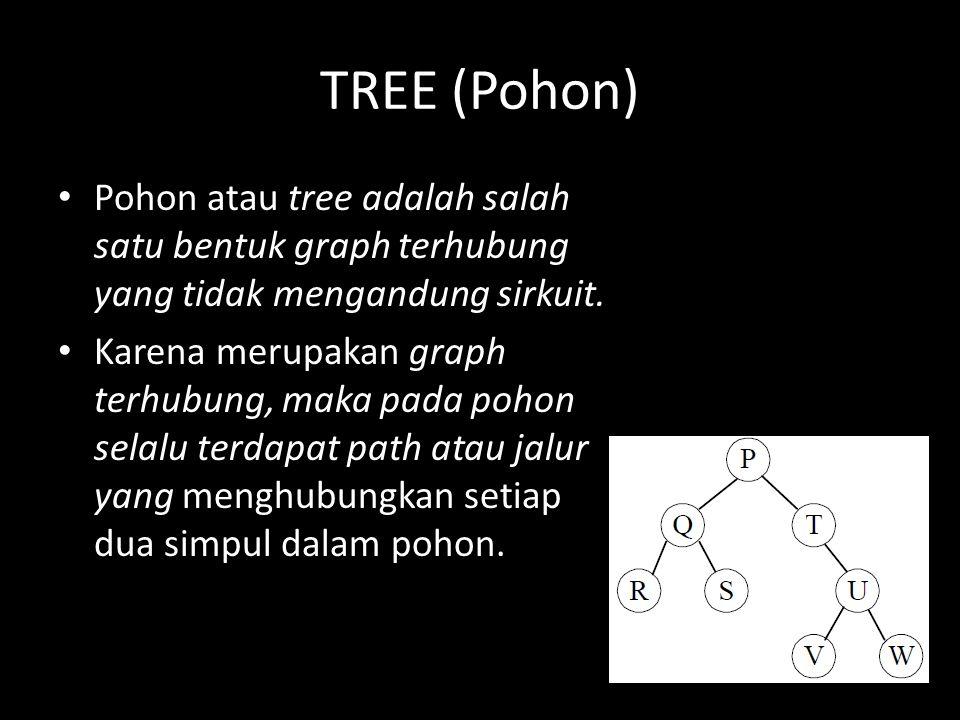 TREE (Pohon) Pohon atau tree adalah salah satu bentuk graph terhubung yang tidak mengandung sirkuit. Karena merupakan graph terhubung, maka pada pohon