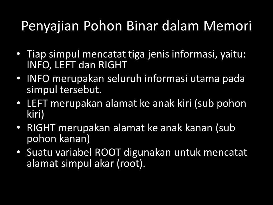 Penyajian Pohon Binar dalam Memori Tiap simpul mencatat tiga jenis informasi, yaitu: INFO, LEFT dan RIGHT INFO merupakan seluruh informasi utama pada