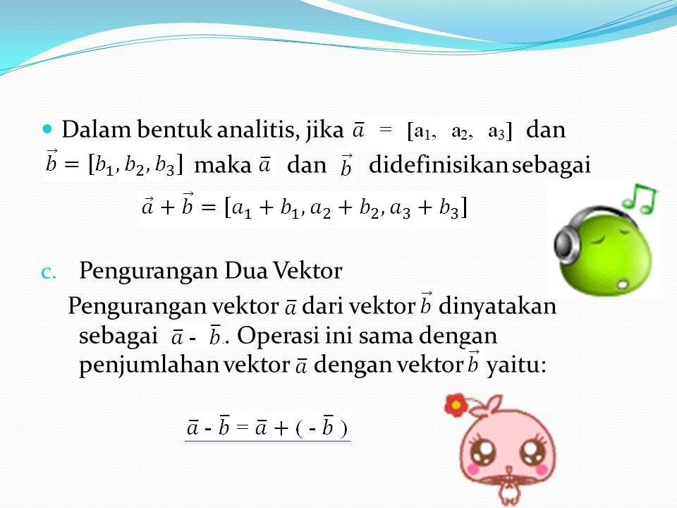 Dalam bentuk analitis, jika dan maka dan didefinisikan sebagai c.