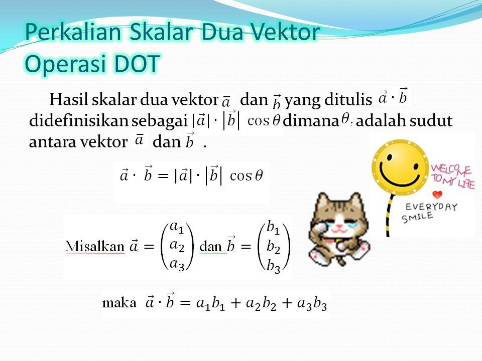 Hasil skalar dua vektor dan yang ditulis didefinisikan sebagai, dimana adalah sudut antara vektor dan.