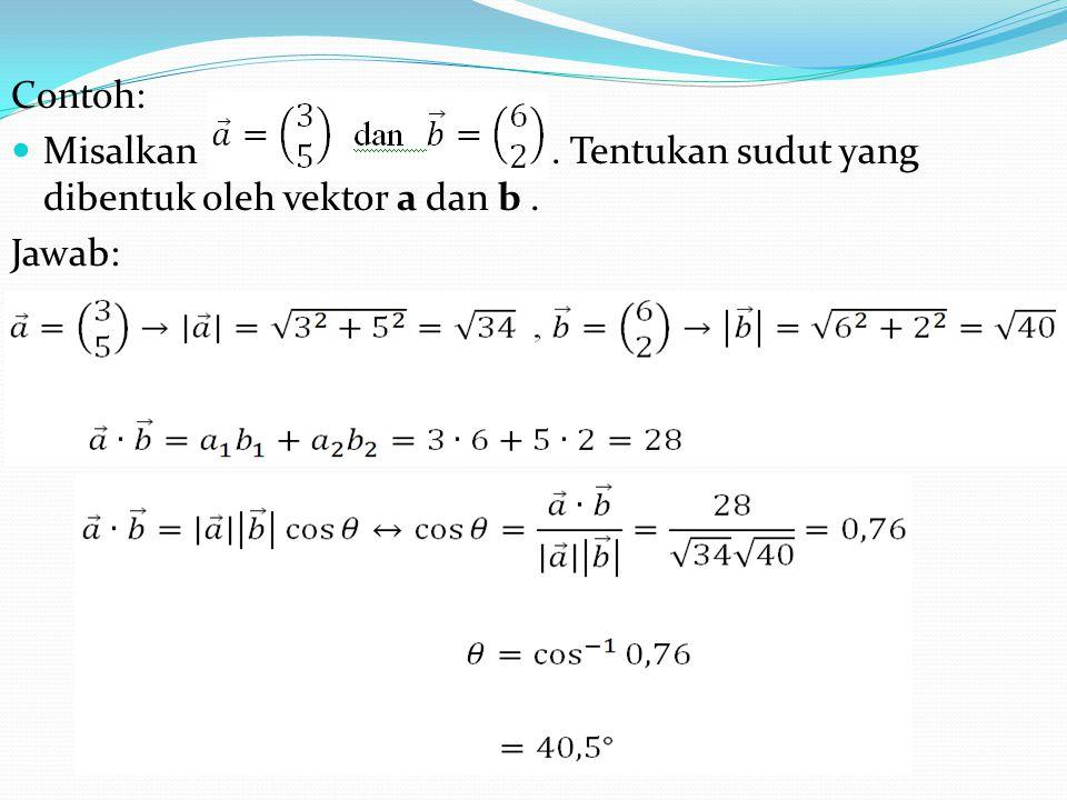 Contoh: Misalkan. Tentukan sudut yang dibentuk oleh vektor a dan b. Jawab: