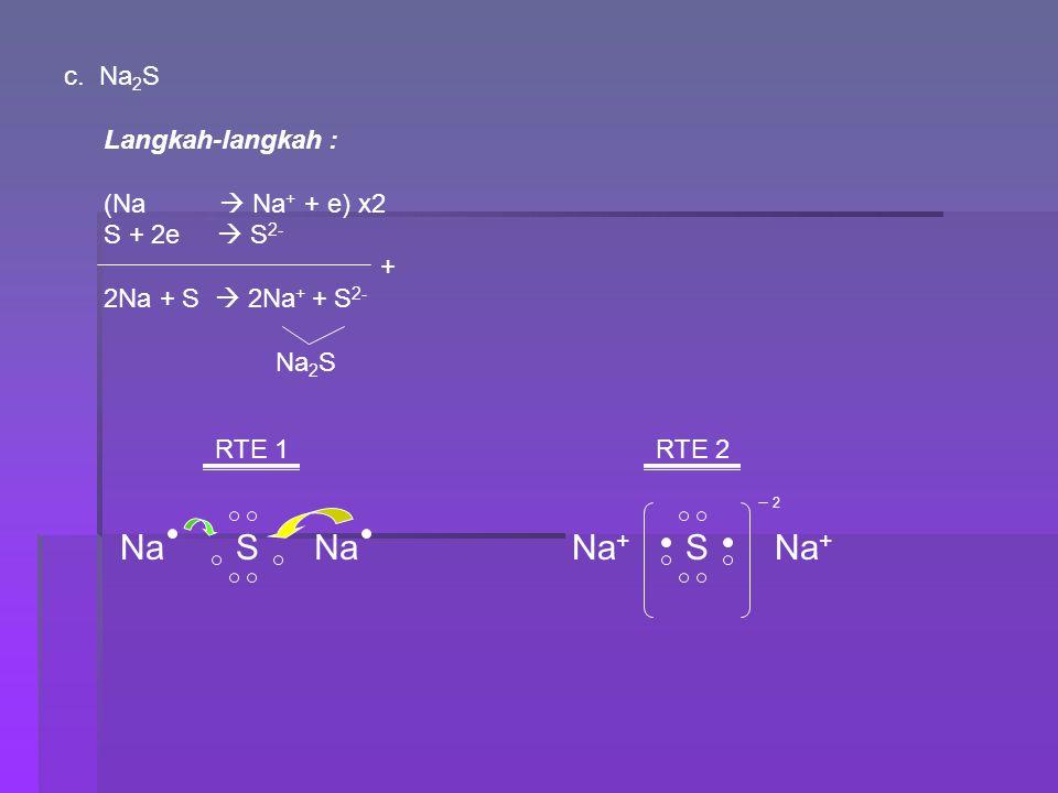 c. Na 2 S Langkah-langkah : (Na  Na + + e) x2 S + 2e  S 2- + 2Na + S  2Na + + S 2- Na 2 S RTE 1 NaS RTE 2 Na + SNaNa + 2