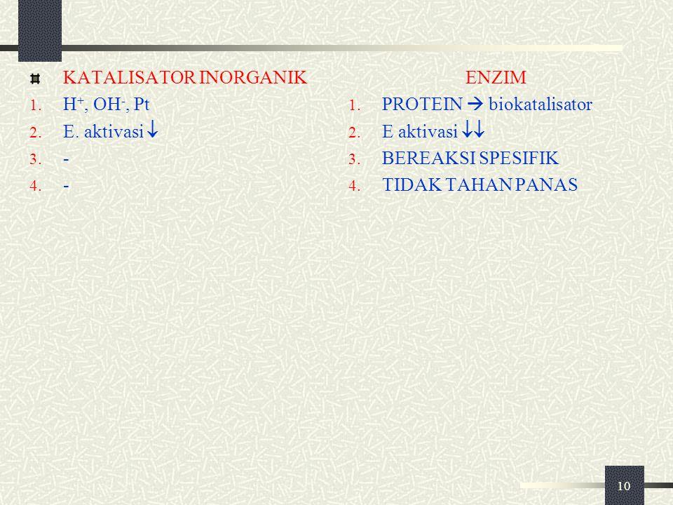 10 KATALISATOR INORGANIK 1. H +, OH -, Pt 2. E. aktivasi  3. - 4. - ENZIM 1. PROTEIN  biokatalisator 2. E aktivasi  3. BEREAKSI SPESIFIK 4. TIDAK