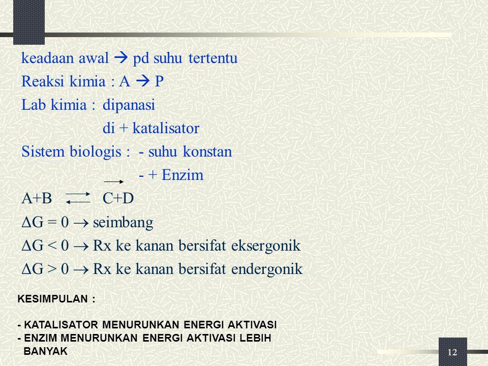 12 keadaan awal  pd suhu tertentu Reaksi kimia : A  P Lab kimia :dipanasi di + katalisator Sistem biologis :- suhu konstan - + Enzim A+BC+D ΔG = 0 