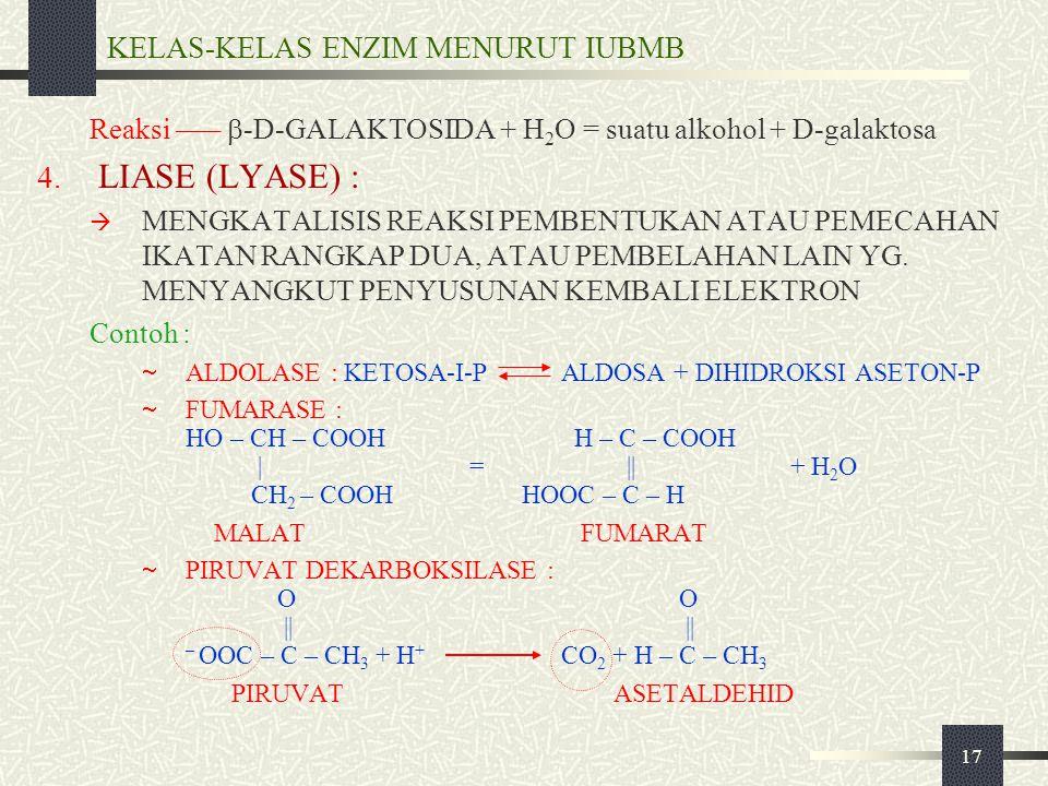 17 KELAS-KELAS ENZIM MENURUT IUBMB Reaksi –––  -D-GALAKTOSIDA + H 2 O = suatu alkohol + D-galaktosa 4. LIASE (LYASE) :  MENGKATALISIS REAKSI PEMBENT